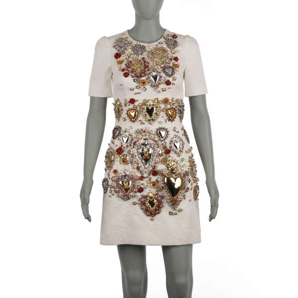 """""""Sacred Heart"""" Runway Silk blend Brocade dress with embroidered crystals, brass hearts and leather roses in white by DOLCE & GABBANA"""
