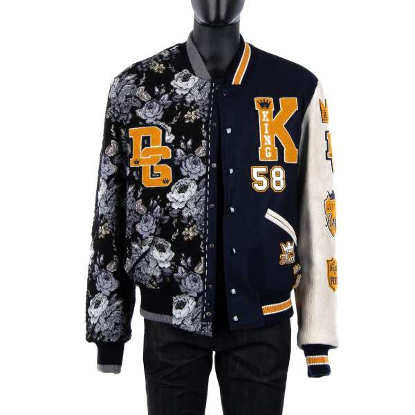 Collared and stuffed varsity jacket out of two different designs made of floral brocade wool and leather with DG King / Royal / Logo applications and leather arm by DOLCE & GABBANA Black Line