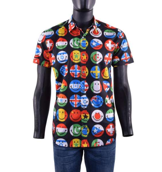 Printed cotton short sleeves shirt with smiley-flags print by MOSCHINO COUTURE