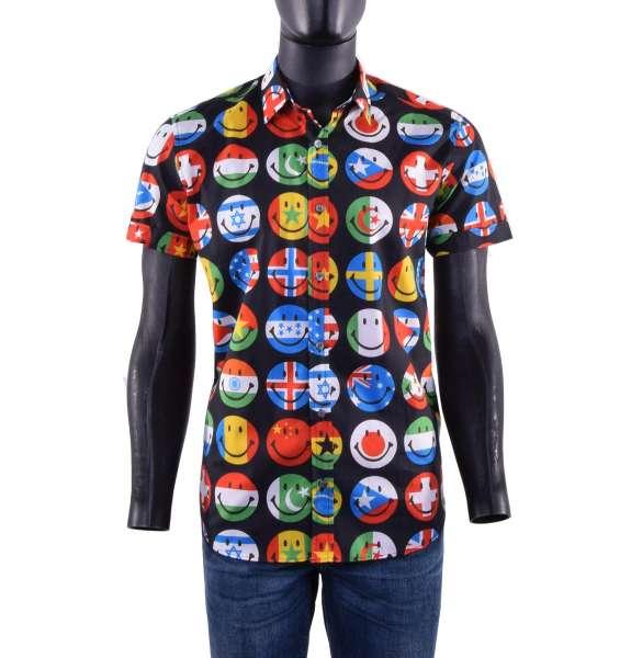 Kurzarm Hemd aus Baumwolle mit Aufdruck von Flaggen in Smiley Form von MOSCHINO COUTURE
