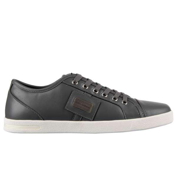Klassische Sneaker NEW RU aus Glattleder in Grau mit Logo-Schild von DOLCE & GABBANA