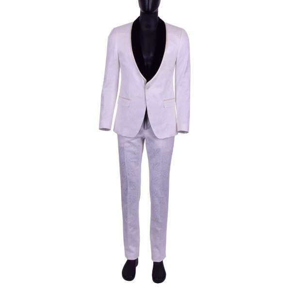 Floral cotton jacquard suit in white with a black contrast velvet reverse by DOLCE & GABBANA Black Line