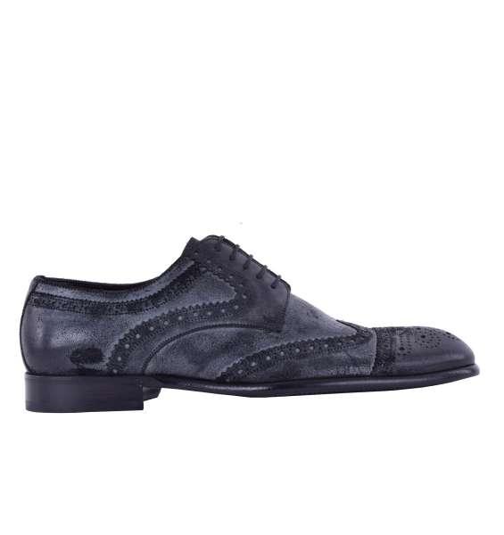 Derby Schuhe aus gewaschenem Wildleder von DOLCE & GABBANA Black Label