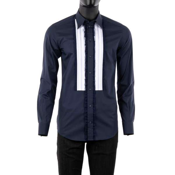 Tuxedo Shirt with short collar and soft placket and ruffles in blue and white by DOLCE & GABBANA Black Label - GOLD Line