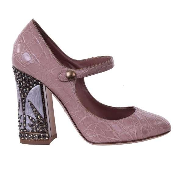Crocodile leather Mary Jane Pumps VALLY with decorative Swarovski heel by DOLCE & GABBANA Black Label