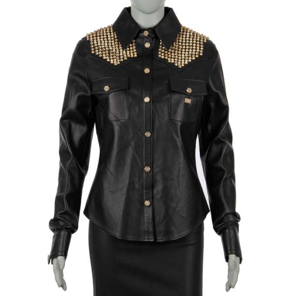 BE REAL Leather Shirt / Jacket with studded elements in silver-gold and black by PHILIPP PLEIN COUTURE