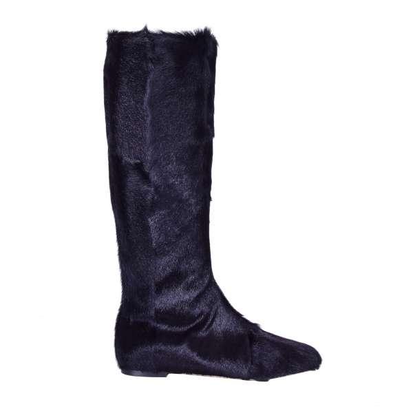 Flache Kniehohe Stiefel VALLY aus Gazelle Pelz und Nappa Leder mit Reißverschluss von DOLCE & GABBANA Black Label