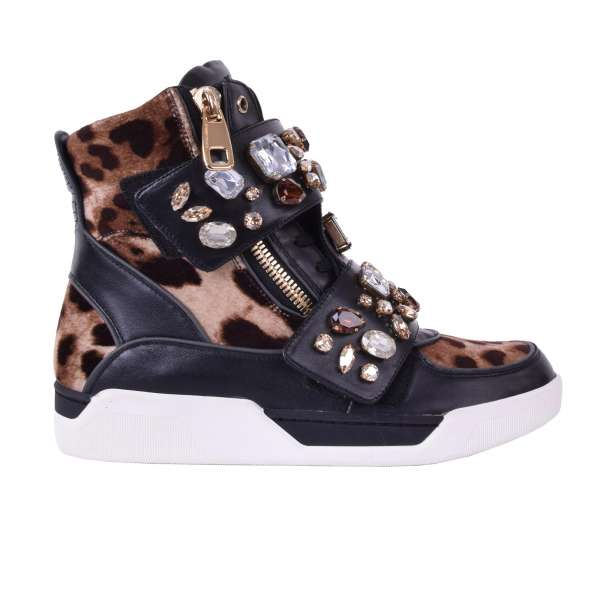 Calfskin and velvet, leopard printed High-Top Sneaker with double zip and crystals embellished velcro fastening by DOLCE & GABBANA Black Label