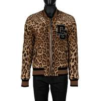 Quilted Leopard Printed Nylon Bomber Jacket with DG Logo Brown Black