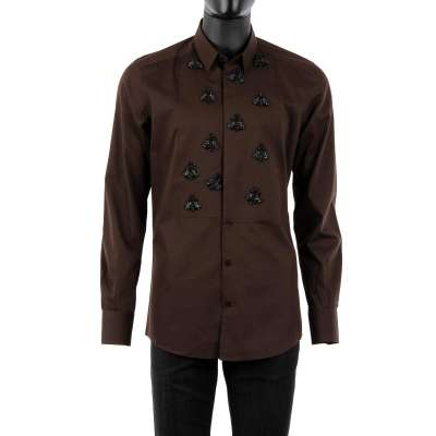 Tuxedo Shirt with Bee Embroidery Brown