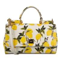 Lemon Printed Dauphine Leather Bag SICILY Small White Yellow