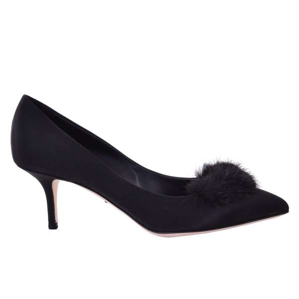Classic medium heel gros grain silk pumps BELLUCCI with Mink Application by DOLCE & GABBANA Black Label