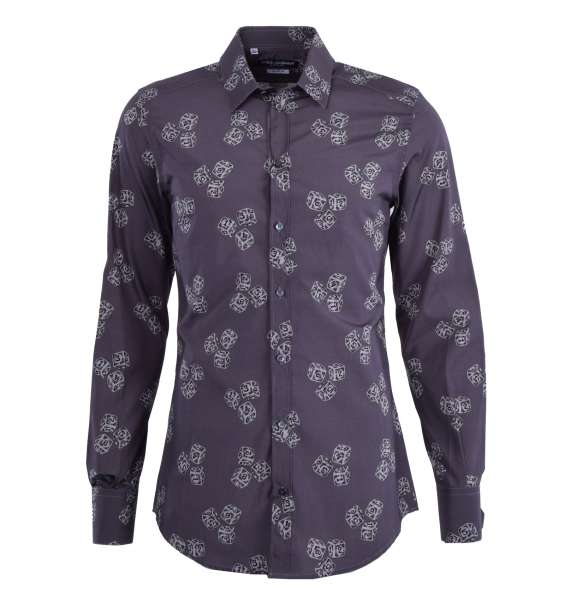 Dices printed shirt with short collar and cuffs by DOLCE & GABBANA Black Label - GOLD Line
