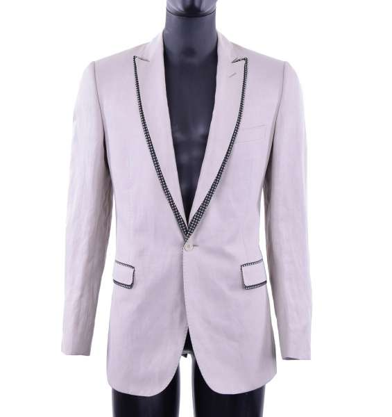Silk Tuxedo Blazer with contrast collar by DOLCE & GABBANA Black Label