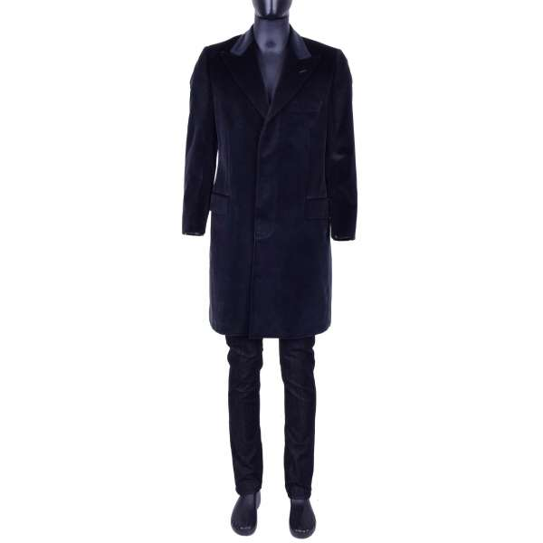 Shiny Velvet Coat with a hidden button tape by DOLCE & GABBANA Black Line