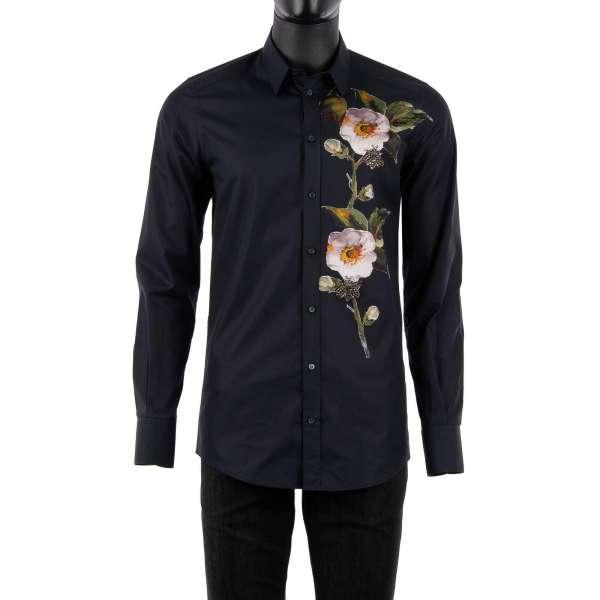 Hemd mit kurzem Kragen und mit Hand bestickten Blumen aus Seide und Bienen aus Kristallen von DOLCE & GABBANA - GOLD Line