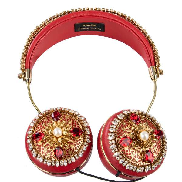 Exclusive and rare nappa leather Frends headphones with cable, embellished with crystals and pearls metal crown in red by Dolce & Gabbana Black Line