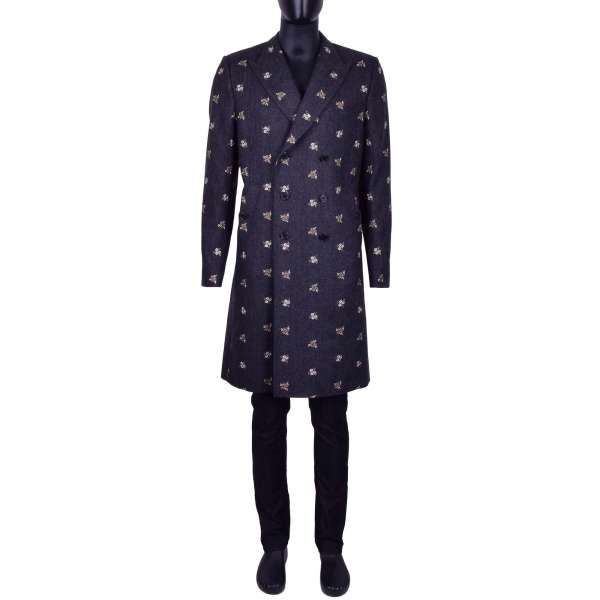 Doeble-breasted floral embroidered virgin wool coat by DOLCE & GABBANA Black Line