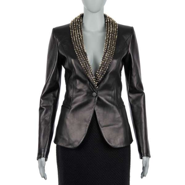 BEAUTIFUL MONSTER Leather Jacket / Blazer with studded collar in gold and black by PHILIPP PLEIN COUTURE