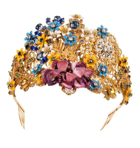 """""""Mix Fiori"""" Filigree Tiara Crown with flowers and crystals in Gold by DOLCE & GABBANA"""