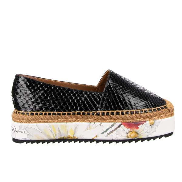 Snake leather Espadrilles with floral printed plateau by DOLCE & GABBANA