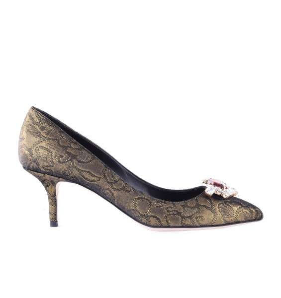 Brocade Pumps BELLUCCI embellished with crystal brooch by DOLCE & GABBANA Black Label