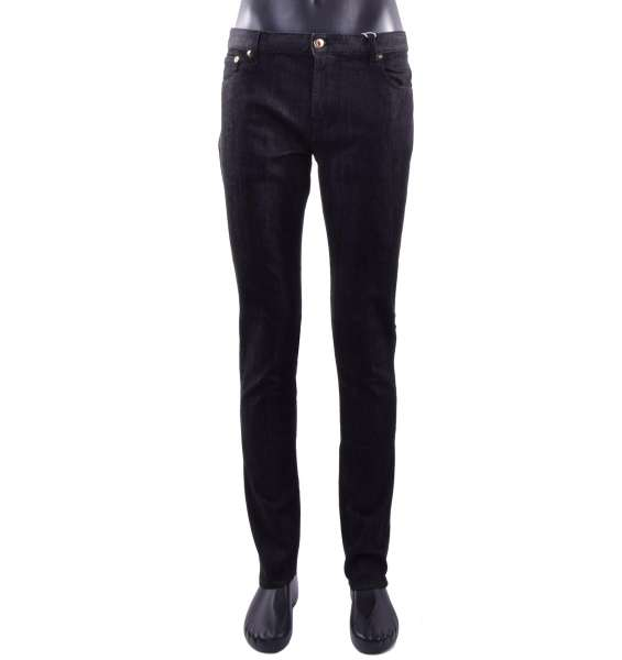 Classic skinny Men Jeans with metal logo plate by MOSCHINO COUTURE