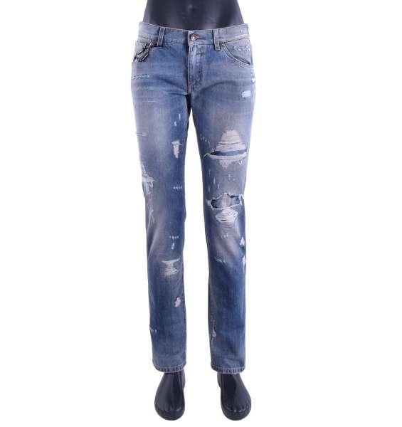 Schmal geschnittene Jeans 14 GOLD in Distressed Optik von DOLCE & GABBANA Black Label