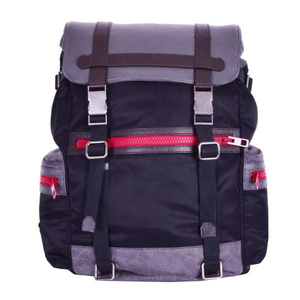 Nylon, canvas and dauphine leather backpack with many pockets and logo plate by DOLCE & GABBANA