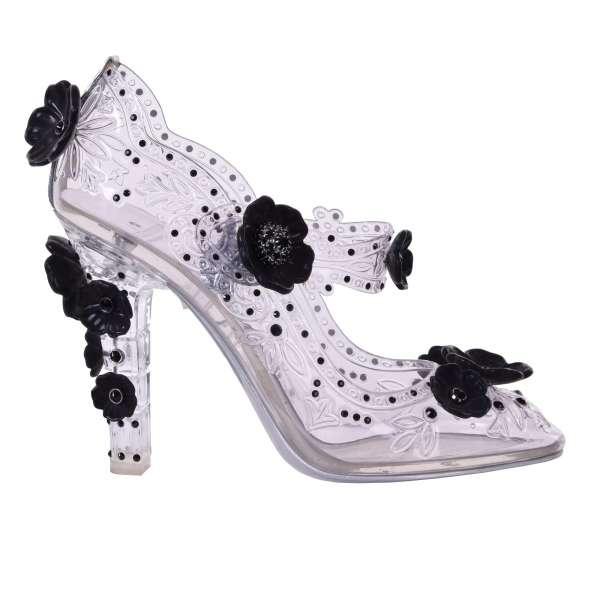 Transparente Mary Jane Cinderella Pumps BETTE aus PVC mit Strass-Verzierung und Blumen Applikationen inklusive Schuhspanner aus Holz von DOLCE & GABBANA Black Label