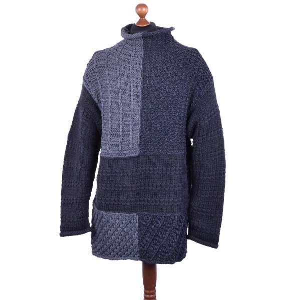 Knitted Long Oversize Virgin Wool Sweater in Knight Style by DOLCE & GABBANA Black Label