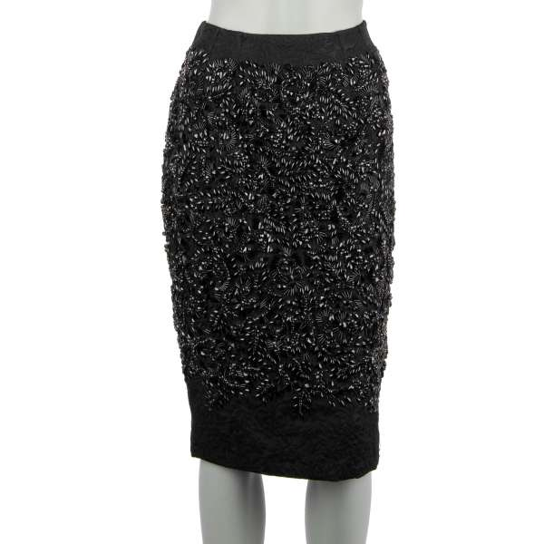 Brocade skirt with crystals and pearls embroidery in black by DOLCE & GABBANA
