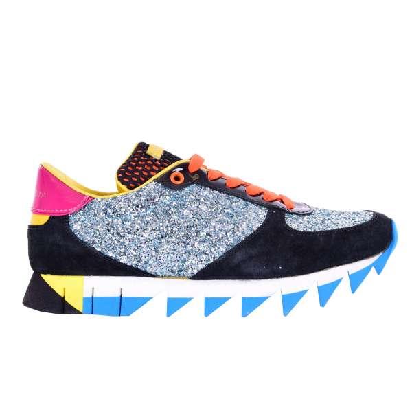 Damen Lack- und Wildleder Sneakers SORRENTO mit Glitter in blau, schwarz, orange und gelb von DOLCE & GABBANA Black Label