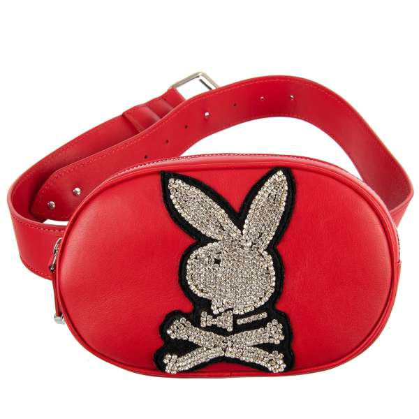 Belt Bag / Pouch with adjustable belt, a large crystals Plein Playboy Logo and metal logo plate by PHILIPP PLEIN X PLAYBOY