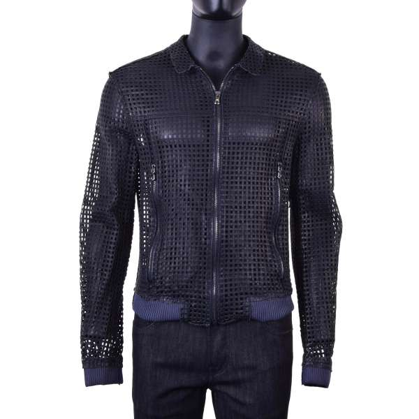 Nappa lambskin jacket with grids / net design by DOLCE & GABBANA Black Label