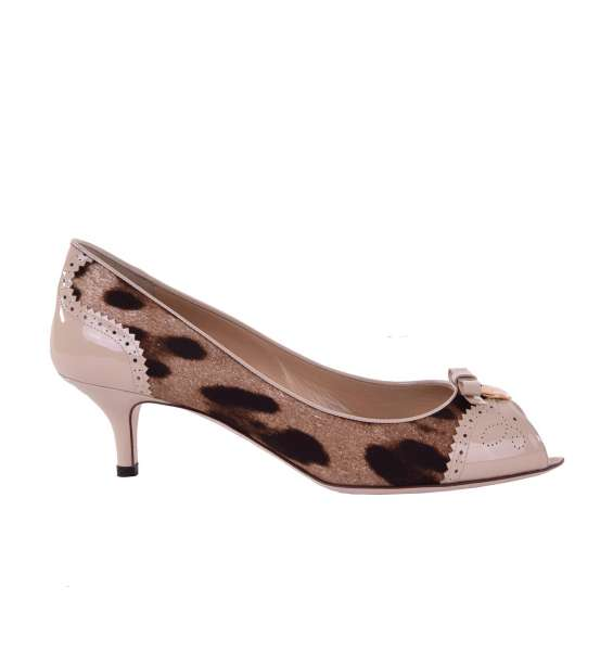 Leopard printed Peep Toe Pumps with brooch made of canvas and patent leather by DOLCE & GABBANA Black Label