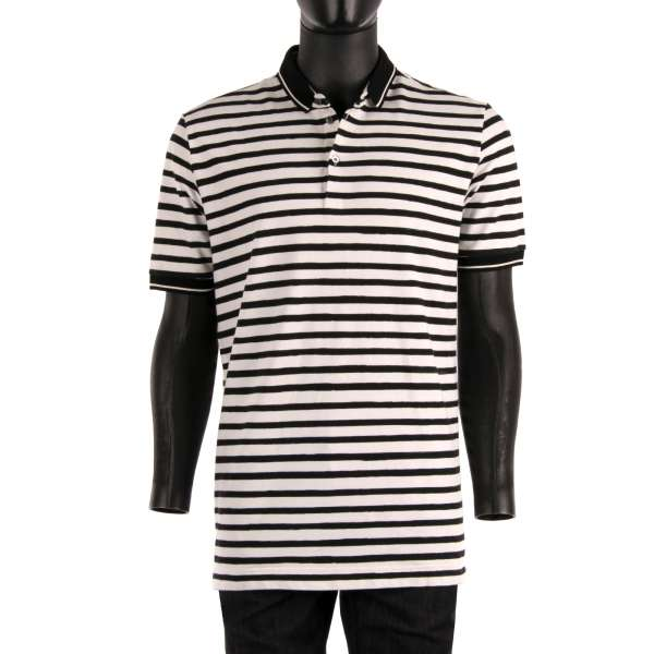 Cotton Polo-Shirt with logo plaque with black and white stripes by DOLCE & GABBANA Black Label
