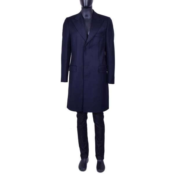 Klassischer Slim Fit Mantel aus Wolle mit versteckter Knopfleiste von DOLCE & GABBANA Black Label