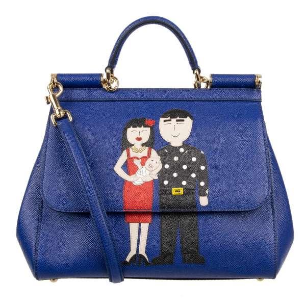 Tote / Schultertasche SICILY BAG mit besticktem DG Family Motiv aus Leder und Logo von DOLCE & GABBANA