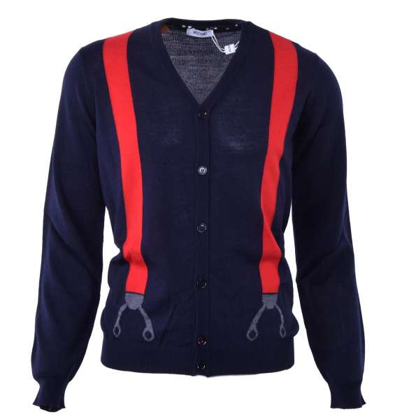 Merino Wool Cardigan with suspenders print by MOSCHINO First Line