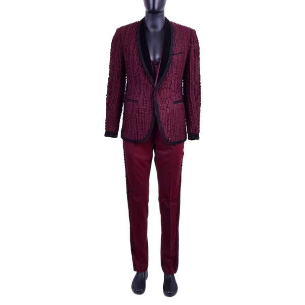 Stunning Spanish style virgin wool 3-pieces suit with handmade 3D embroidery, passementerie and round velvet reverse by DOLCE & GABBANA Black Line