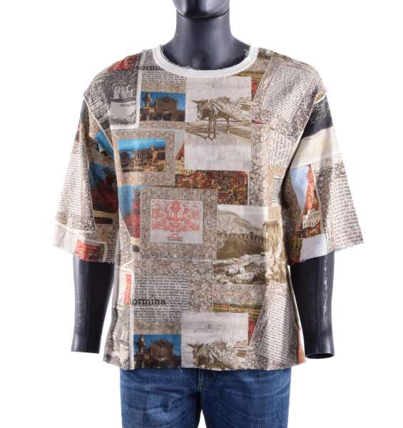Linen and cotton oversize T-Shirt with Sicily Print by DOLCE & GABBANA Black Label