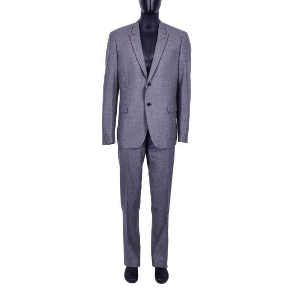 Klassischer Slim Fit Anzug aus Schurwolle in Grau mit schwarzen Kontrast-Kanten von MOSCHINO Main Line