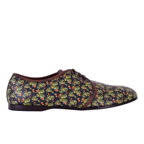 Derby Schuhe AMALFI aus Canvas mit Kaktus Print von DOLCE & GABBANA Black Label