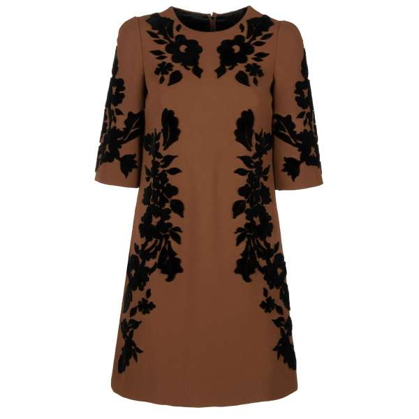 Baroque Dress with embroidered velvet flowers in black and brown by DOLCE & GABBANA Black Line