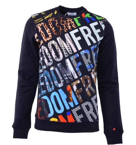 "Sweatshirt with colored ""Freedom"" motive print by MOSCHINO First Line"