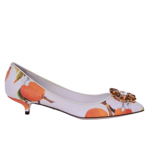 Oranges printed classic Pumps BELLUCCI made of Saffiano PVC with crystals brooch by DOLCE & GABBANA Black Label