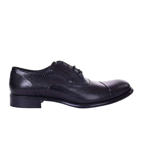 Formal derby captoe shoes TAORMINA made of lizard skin by DOLCE & GABBANA Black Label