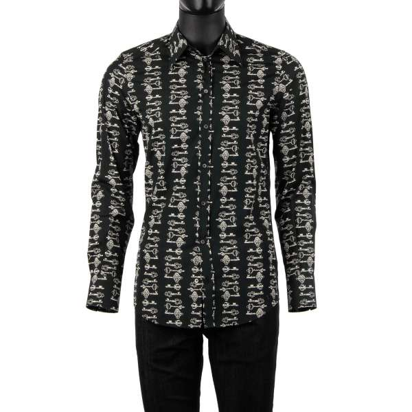 Keys printed cotton shirt with long collar by DOLCE & GABBANA - GOLD Line