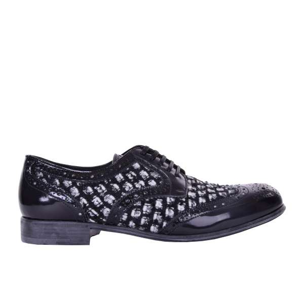 Lace-up wingtip women derby shoes BOY made of leather and boucle fabric by DOLCE & GABBANA Black Label